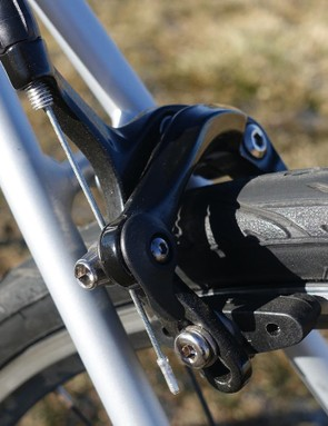 The Domane AL 3 is only let down by its brakes. Lackluster pads keep the Trek from stopping like more expensive machines
