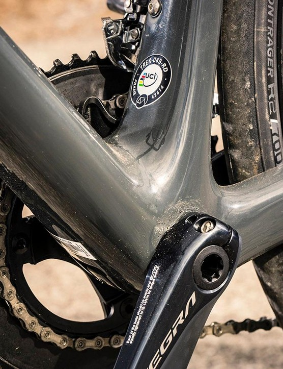 The chunky bottom-bracket area contributes to frame stiffness where it's needed, giving a responsively efficient ride