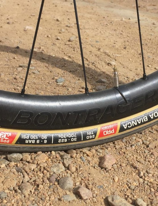 The Trek Domane SLR Race Shop Limited Disc has clearance for 32mm tires