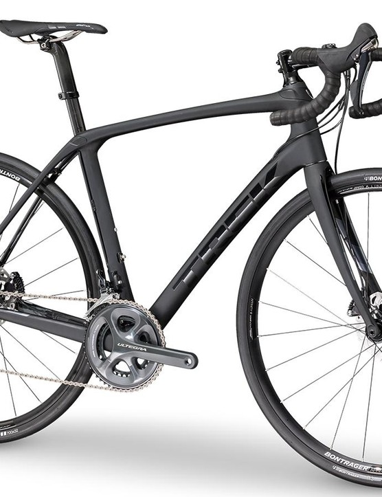 The Trek Domane SLR 6 Disc gets a hydraulic Shimano Ultegra drivetrain and Bontrager cockpit, saddle and wheels