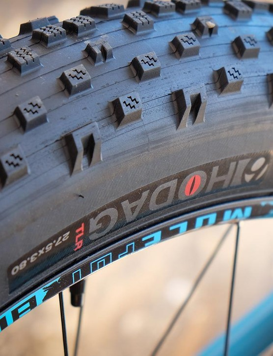 Trek is equipping both models with 27.5x3.8in tires mounted to 80mm rims