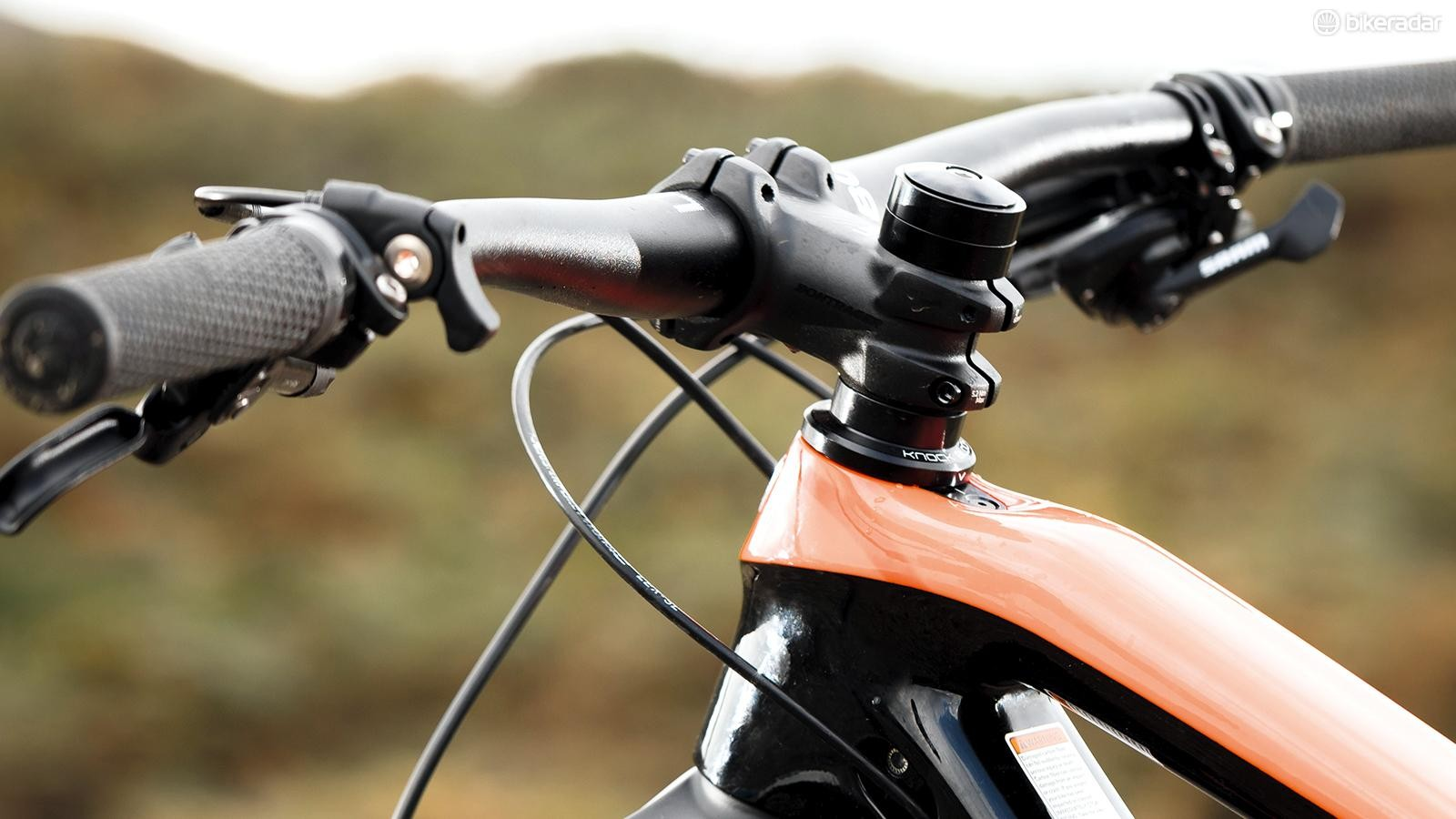 A unique 'Knock Block' headtube and stem system is designed to limit steering lock
