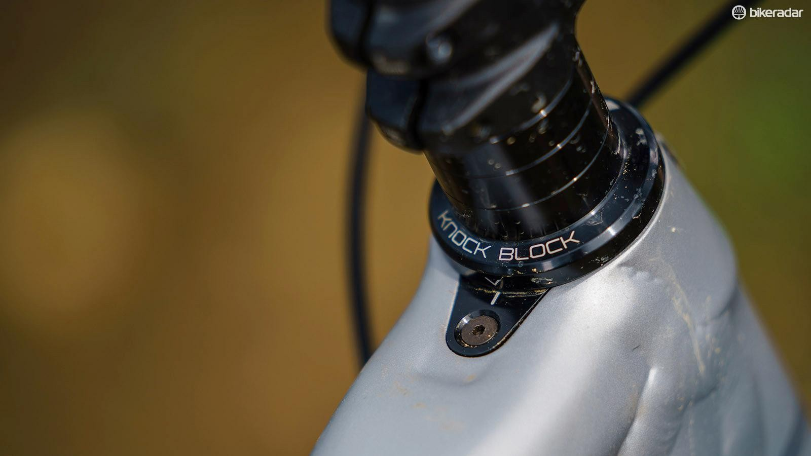 Trek's Knock Block prevents frame damage from over-rotated bars, but makes bike storage a bit of a pain