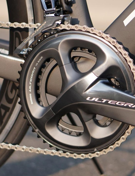 The bike comes with a full compact (50/34) crank. I would have picked a 52/36 for a bike aimed at speed