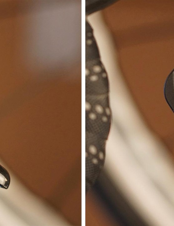 The Shimano Ultegra left inner shift lever would occasionally pop outside the brake lever. Normal position shown at right, with the popped-out position at left. A similar thing happens with Shimano's non-series hydraulic levers. The Dura-Ace levers don't do this