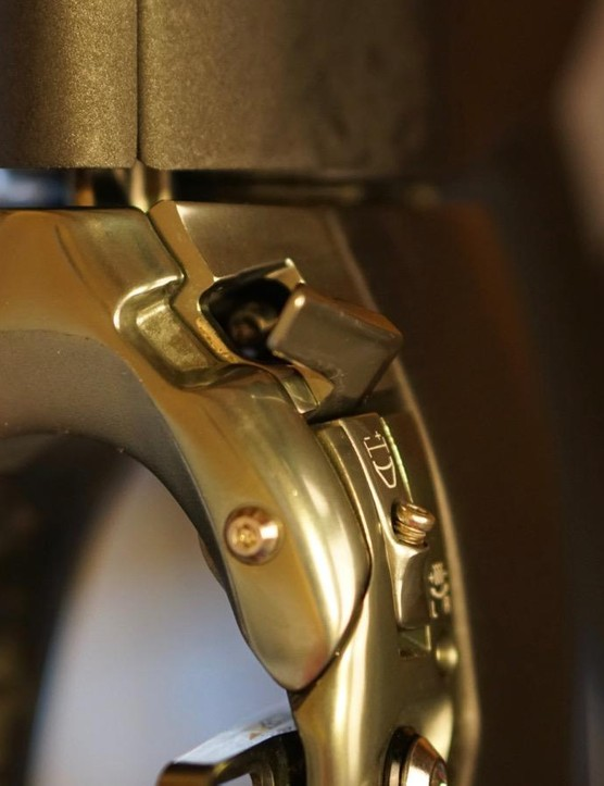 The caliper shown here with the quick release open