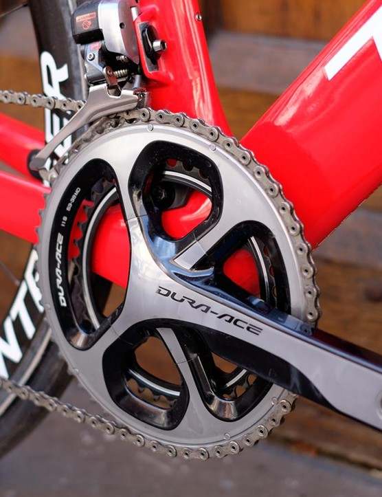 The Di2 Dura-Ace drivetrain performed as silkily as you'd expect