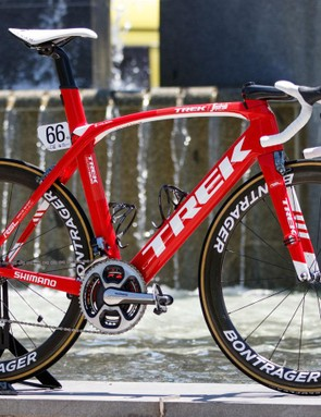For 2016, expect to Ryder Hesjedal regularly swap between the Trek Madone and Trek Emonda. Pictures, the Madone is all about speed on the flatter stages