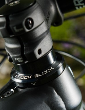 A new feature to the bike is the Knock Block, which uses a system of keyed stem spacers and a special headset cap to limit steering lock and prevent the bars from hitting the top tube