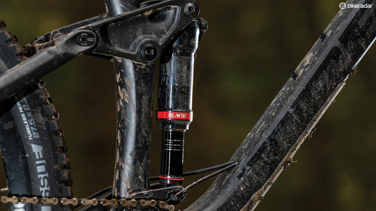 The top-end RockShox Deluxe RT3 shock comes with Trek's proprietary RE:aktiv internals