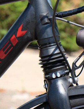 Trek incorporated a suspension fork into the XM700+ to take the edge off rough roads