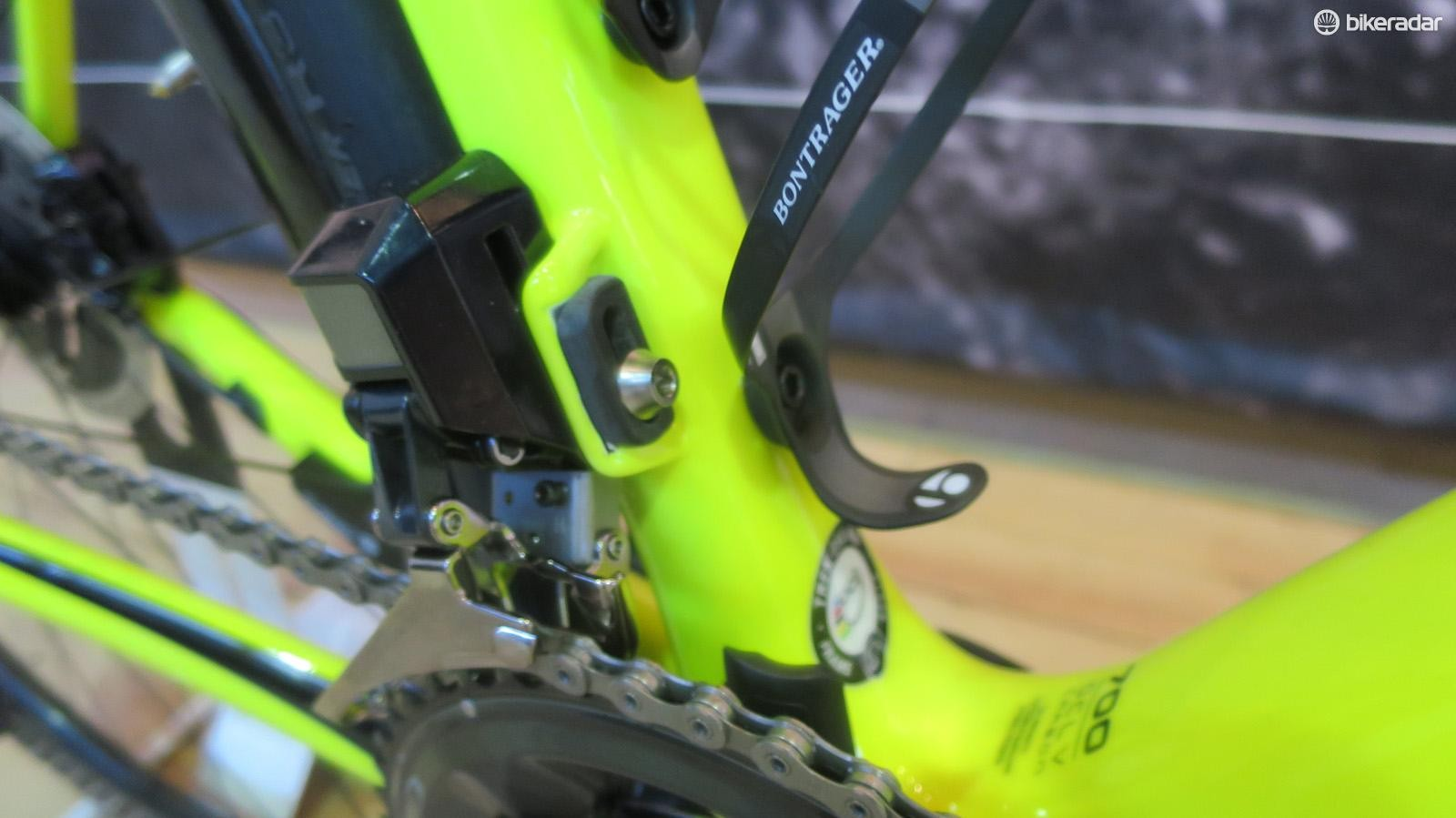 The carbon front mech mount is just one of the weight saving measures on the new Emonda