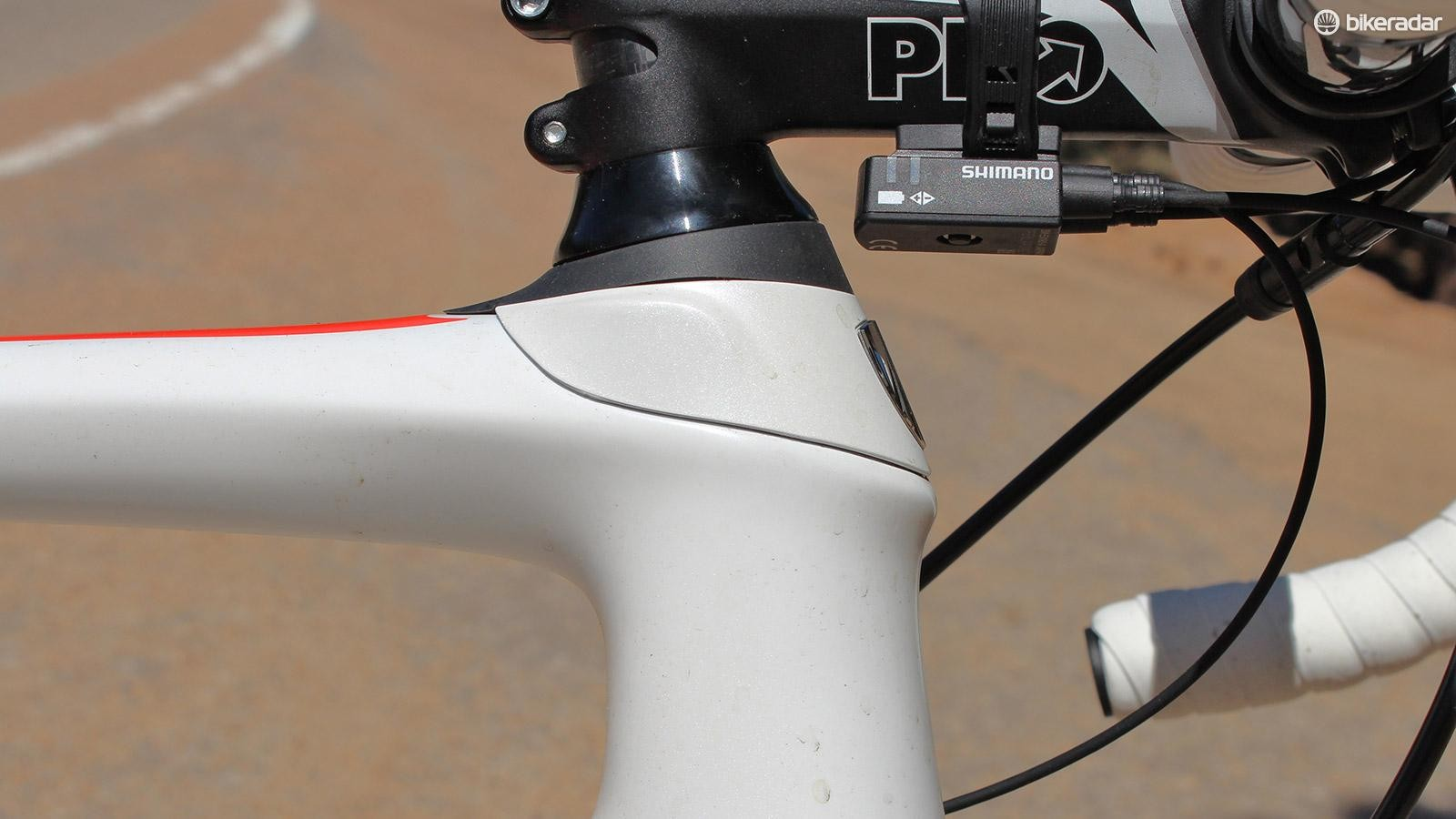 Trek's unique IsoSpeed head tube bows fore and aft