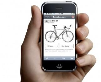 Browsing trekbikes.com on your iPhone.