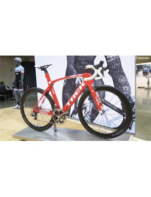 Trek Segafredo team colours are on everything from Trek's cheapest to most expensive road machines, this one's the Race Shop Limited Madone at £11,500