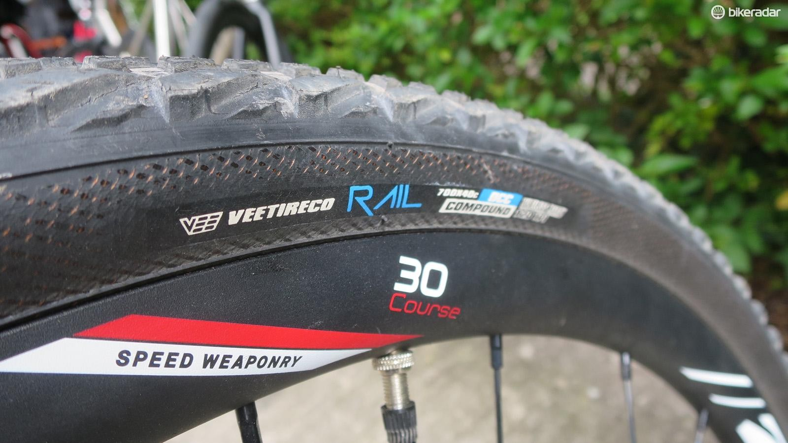 Alloy Zipp 30 disc wheels and Vee's new 40c Rail tyres complete the build