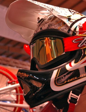 Troy Lee's Peaty signature model comes complete with a custom set of 'Beer' goggles. Sweet.