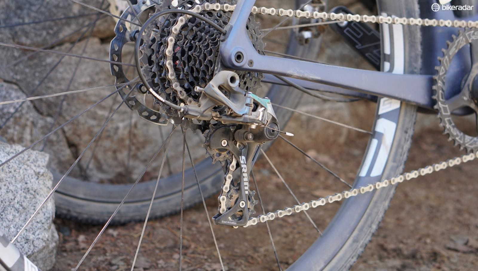 SRAM's Force 1 derailleur with a clutch is an excellent option for gravel, keeping the chain relatively taut