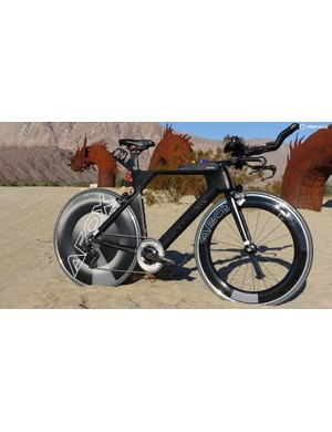 Canyon's Speedmax CF 8.0 Di2 was a perfect platform for a 12-hour TT machine. The addition of TriRig bars and brakes, AeroCoarch wheels, and a Rotor power meter narrowed its focus