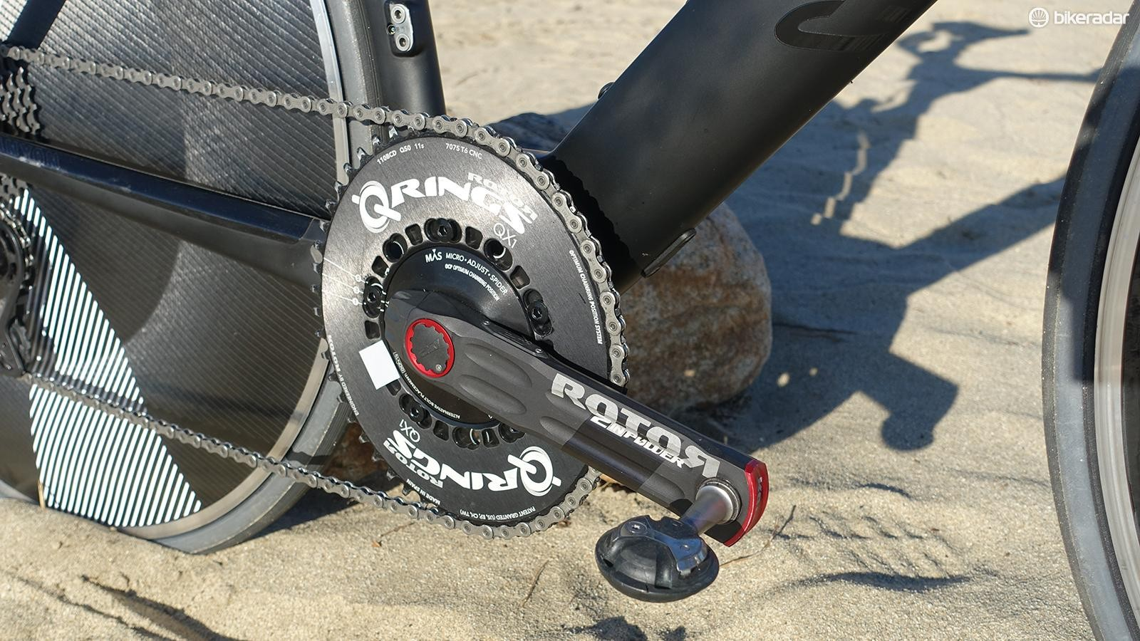 Rotor supplied a 2inPower meter crank and 1x 50-tooth aero chainring for the time trial. Monitoring power output was important for pacing and the training prior to the event