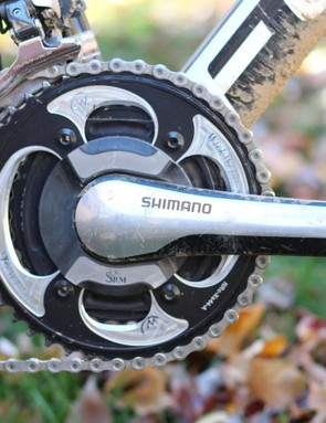 I used a SRM crank with 50/34 rings (not the 'cross rings shown here)