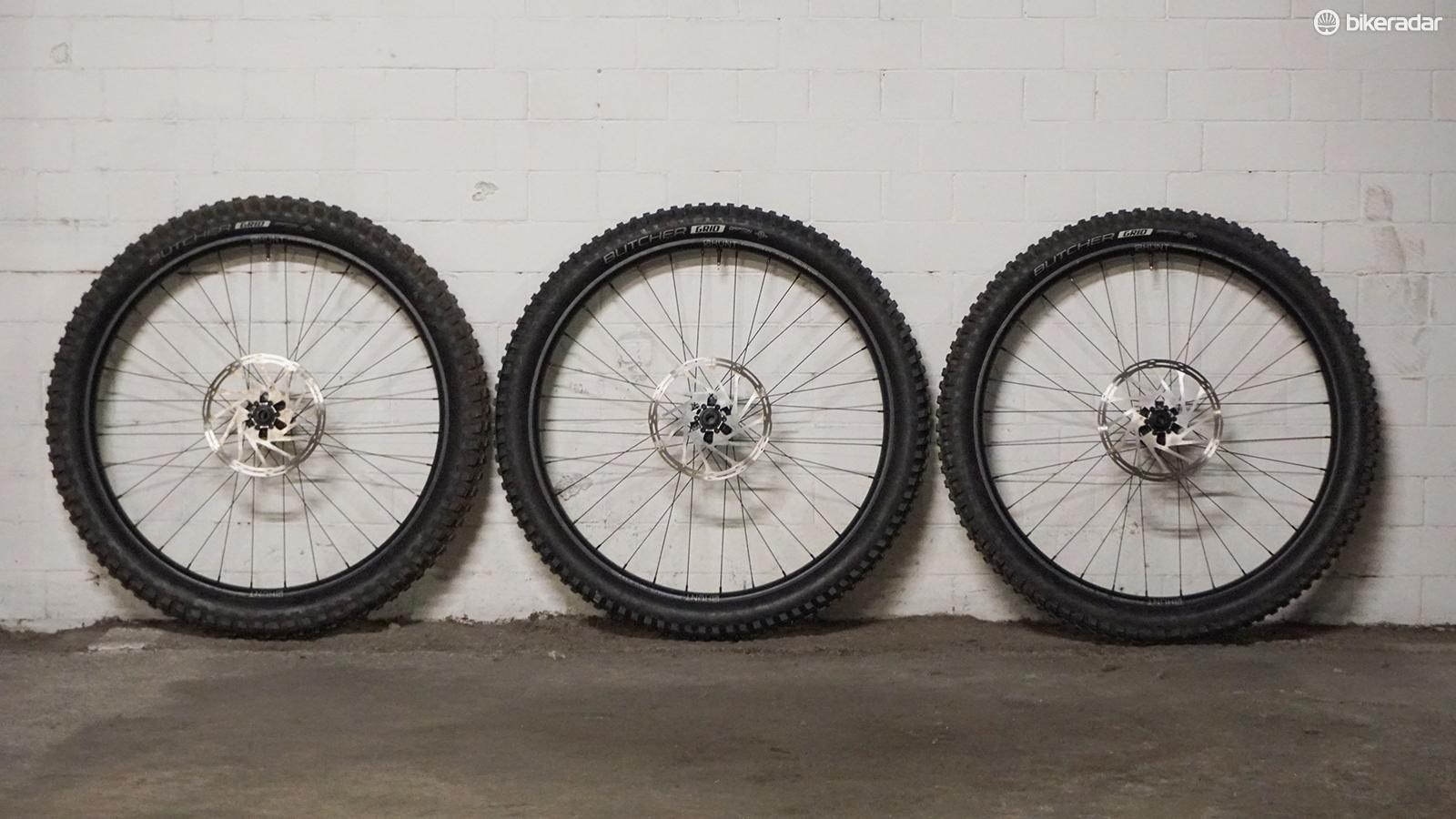 Hunt sponsored this test and provided three sets of their Endurowide wheelset so tyres could be quickly swapped when testing