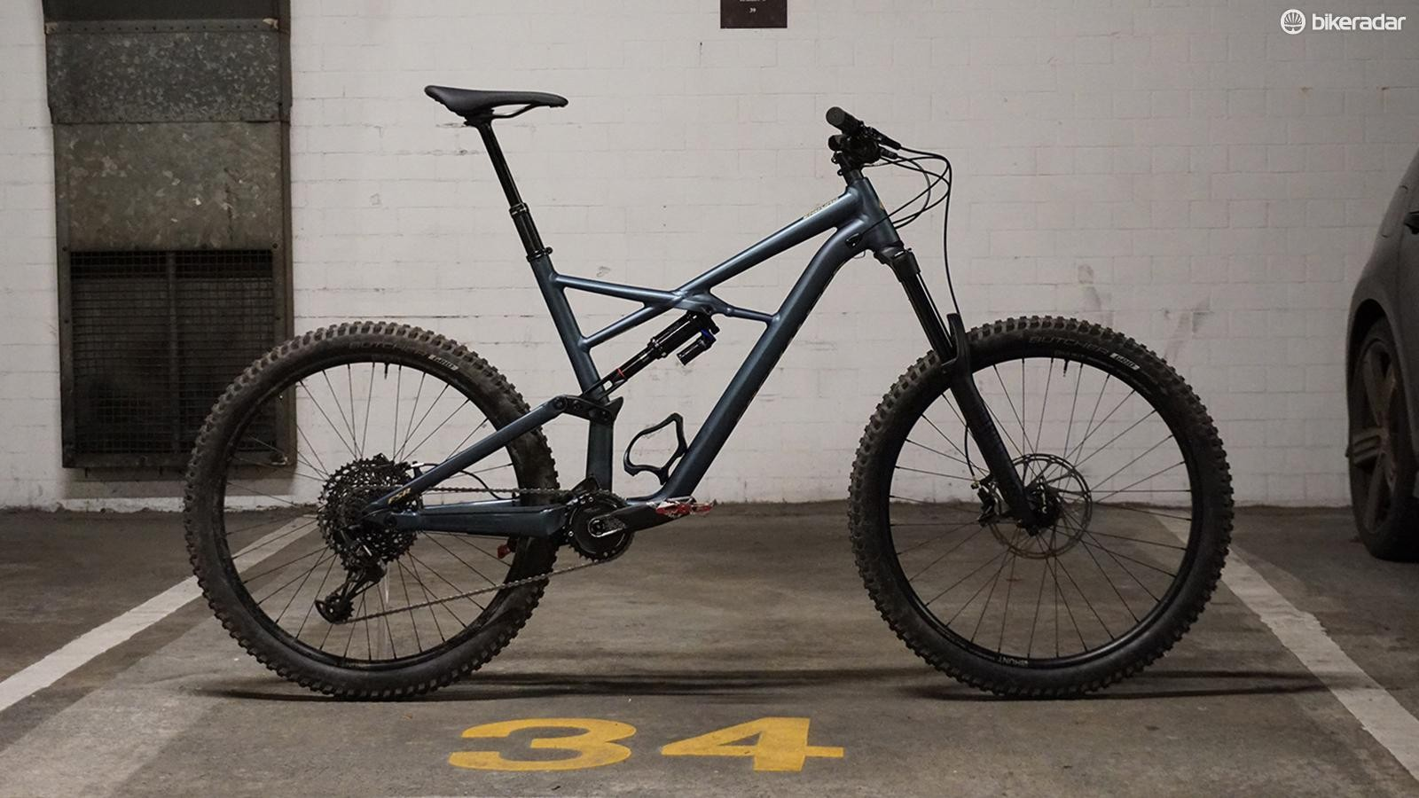"""The test bike fitted with 2.3"""" tyres had a bottom bracket height of 329mm"""