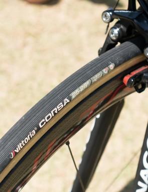 The bike rolls on Vittoria Corsa tyres