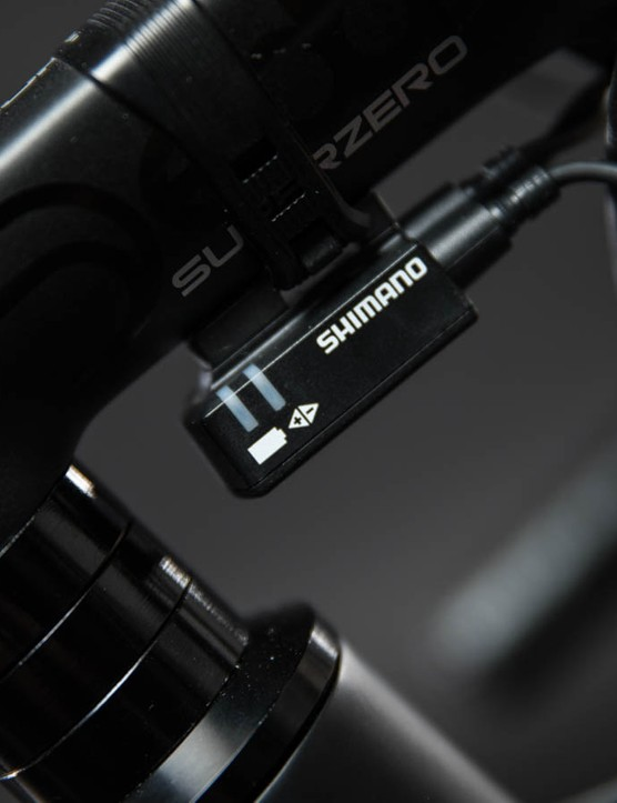 Here's the Di2 junction box — let's hope the next version of Ultegra hides it away in the handlebars, like the new Dura-Ace
