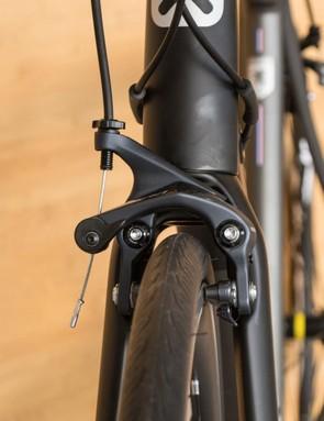 The front brake is a super-stiff direct mount unit