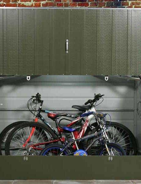The Protect a Cycle can store up to three adult bikes.