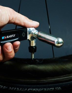 The Air Lever combines a tyre lever and a CO2 inflator