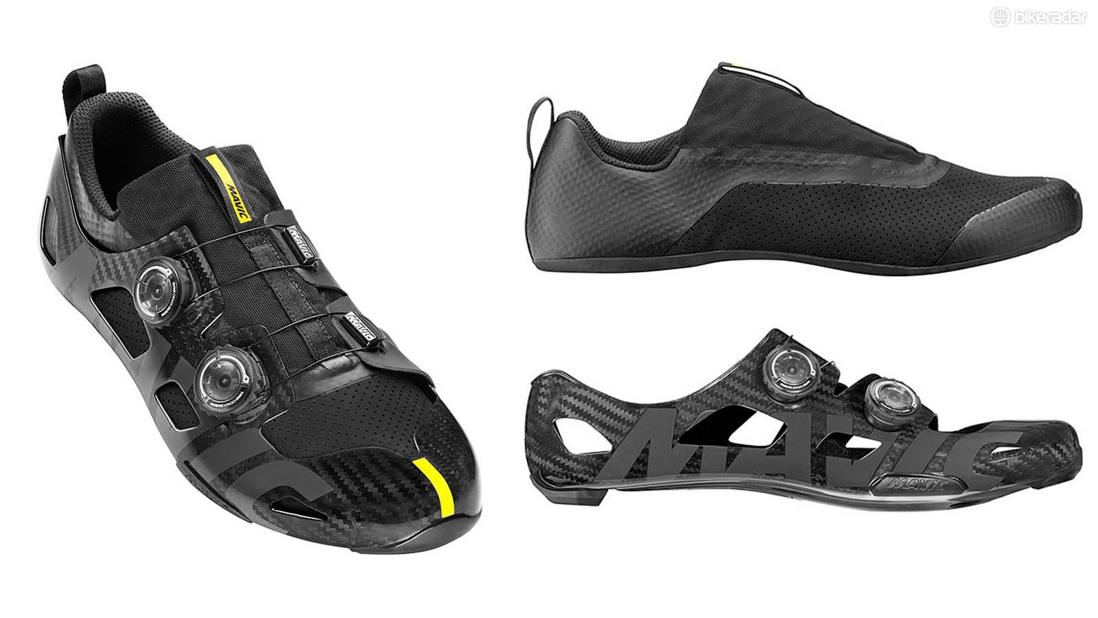 Mavic's Comete Ultimate shoe consists of a carbon shell and inner bootie