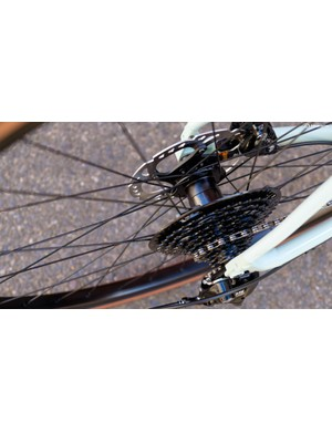Specialized own-brand Hayfield wheels which pair a broad box-section rim with custom hubs