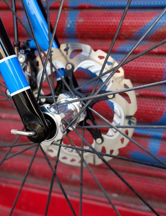 The thru-axle fork uses a Torx key interface…
