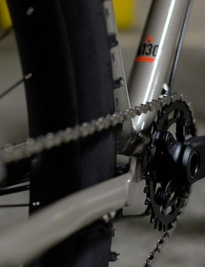The Marin branded hollow spindle chainset comes equipped with a single 32t narrow/wide cog