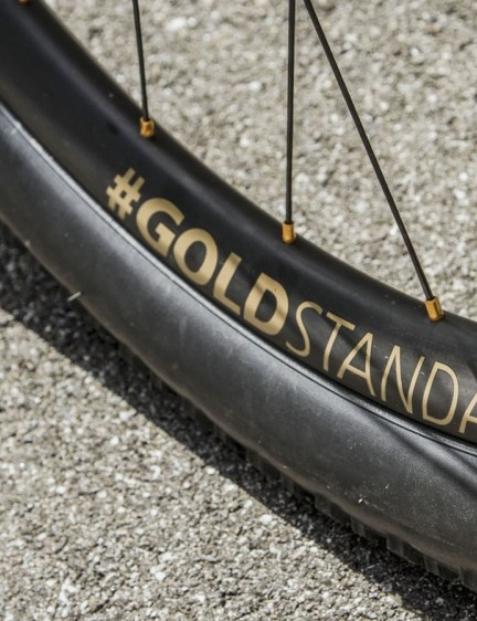 The stickers on Schurter's DT Swiss XMC 1200 Spline Carbon 29er wheels have been replaced by a hashtag