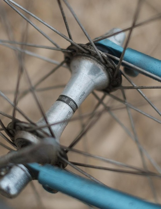 Dainty Shimano 600 hubs are a far cry from today's oversized components