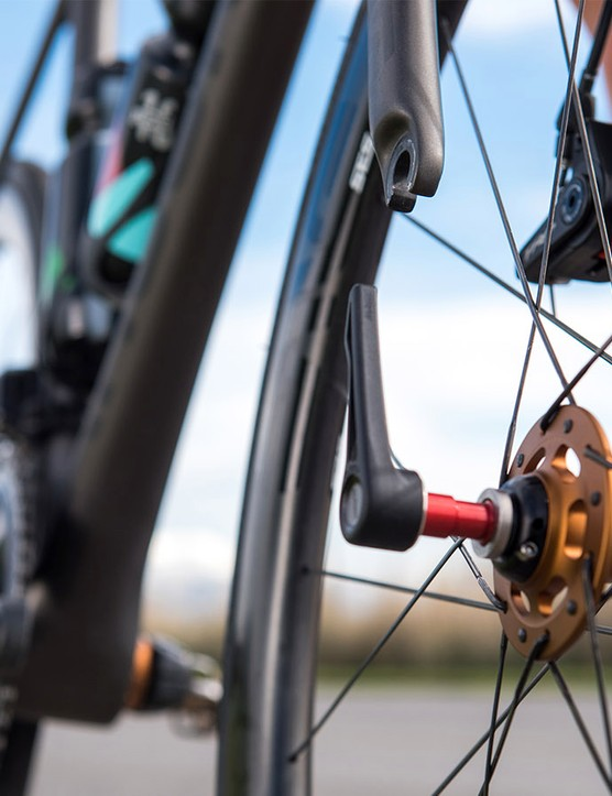 Mavic's Speed Release combines an open dropout and closed dropout to create a thru-axle quick release of sorts