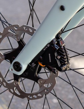 Flat Mount calipers integrate nicely into the Sequoia's carbon fork