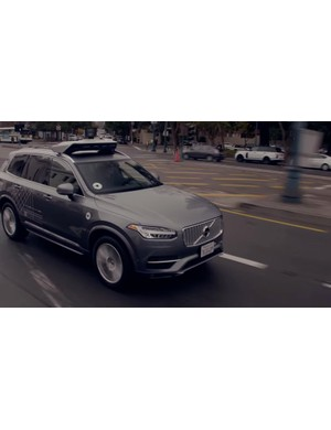The autonomous Volvo XC90's do not merge into the bike lane before completing a right 'hook turn'