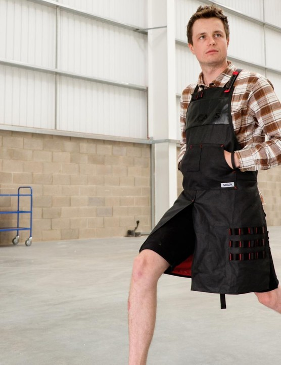 Our new boy Jack takes a confident stride in Silca's new apron