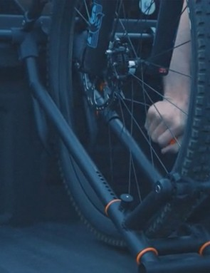 Loading the bikes is a simple as rolling a wheel into the rack and pulling a lever