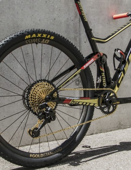Schurter is running the new Maxxis Aspen 2.25 x 29 tyres