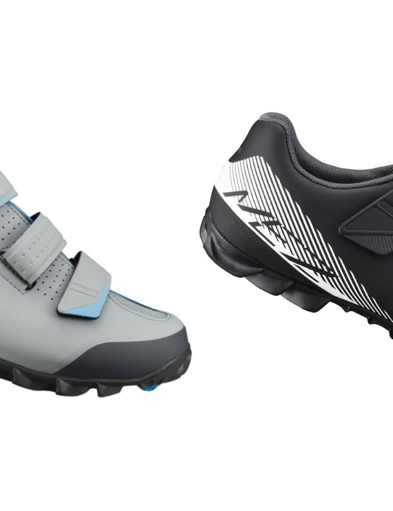 Men's Shimano ME2 MTB shoes are available in grey/blue and black/white