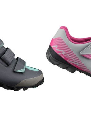 Women's Shimano ME2W MTB shoes are available in dark grey/green and grey/pink
