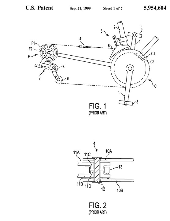 The patent describes a 14 speed drivetrain matched with a front derailleur, truly a sign of the time when this patent was filed