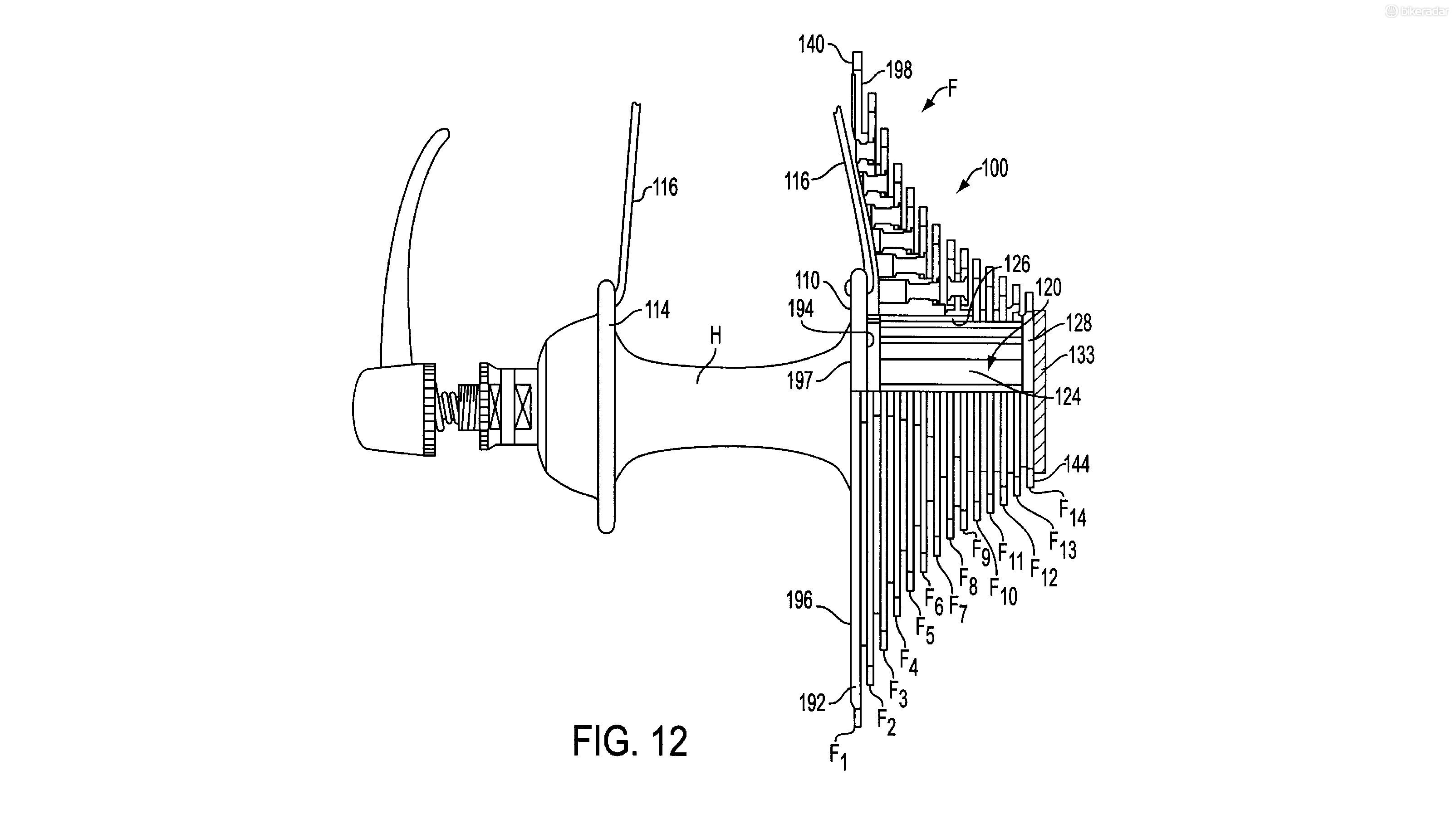 The patent suggests that a 14 speed cluster could fit within the constraints of a regular free hub body