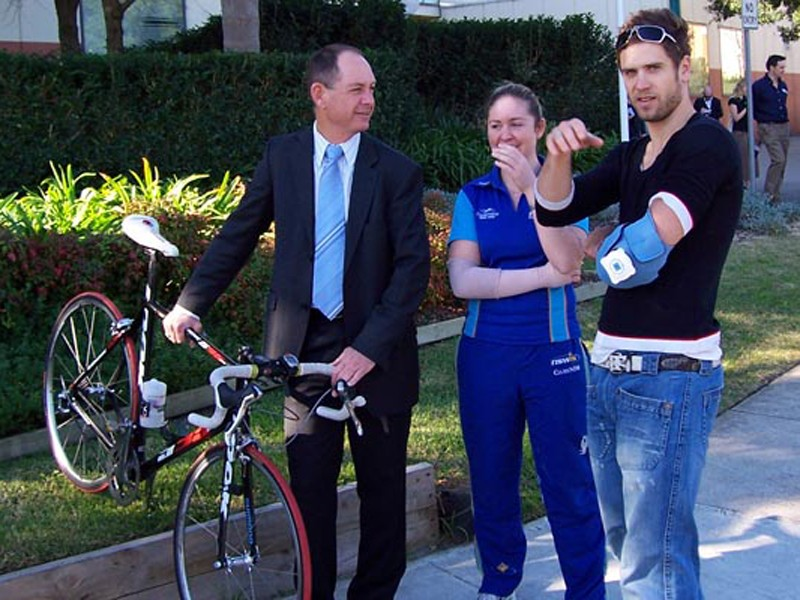 Top Sydney cyclists Kevin & Kate Nichols & Ben Kersten after the May 8 incident