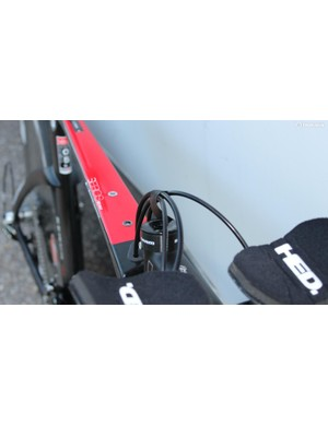 Use for electrical tape #4: Consolidating cables for aerodynamics (on Tom Zirbel's bike)